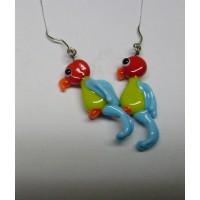 Ptáčci - Papoušci červená hrášková světle modrá