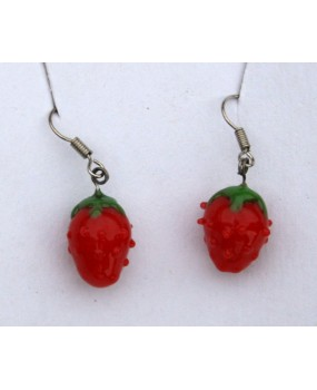 Náušnice: Jahody červená