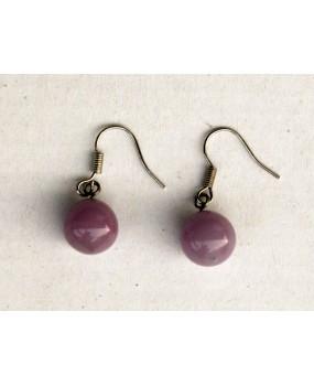 Náušnice: Kuličky růžová opál