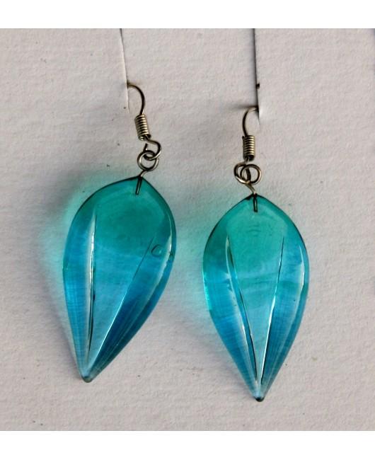 Náušnice: Lístky emerald aqua