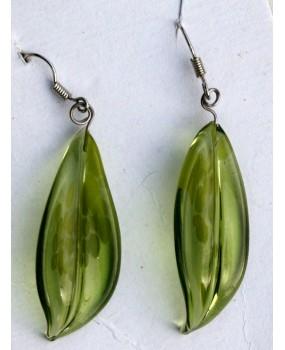 Náušnice: Lístky olivín tečky