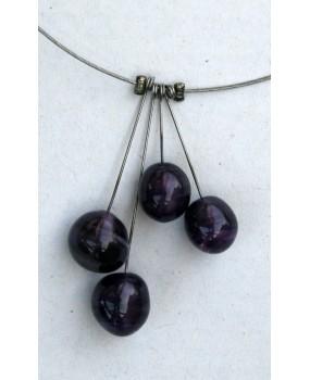 Náhrdelník: Kuličky fialová měsíční svit