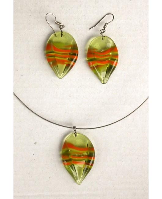Set: Lístky olivín zelená oranžová