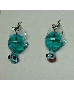 Náušnice: Želvičky aqua zelená