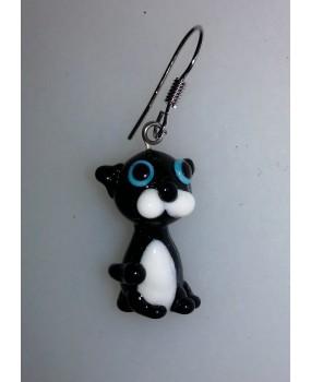 Náušnice: Kočky černá bílá