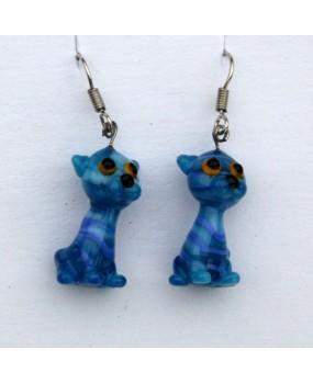 Náušnice: Kočky modrá