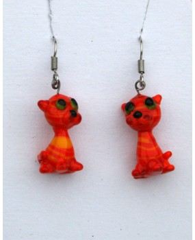 Náušnice: Kočky Alenina oranžová