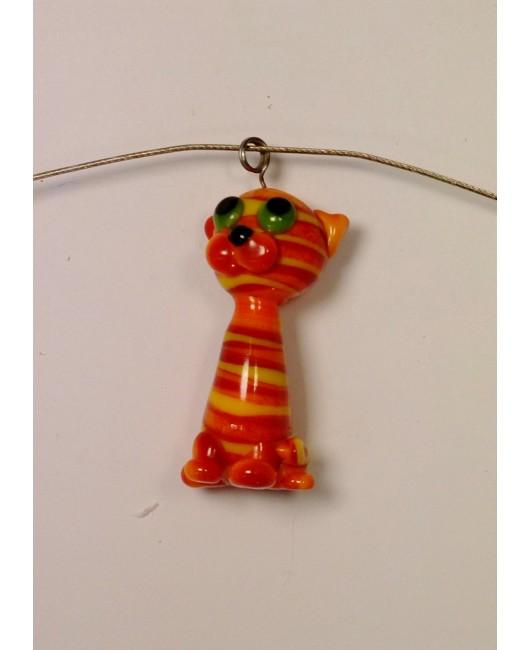 Přívěšek: Kočka velká oranžová zelená žlutá