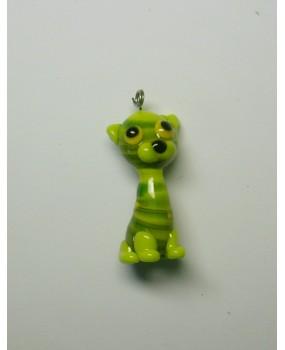 Přívěšek: Kočka velká zelená žlutá