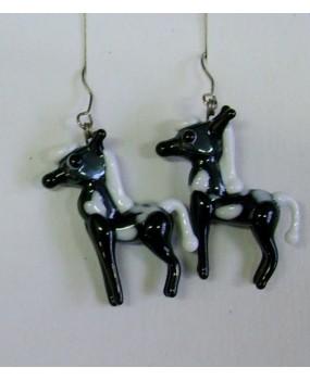 Náušnice: Koníci černá bílá strakatá