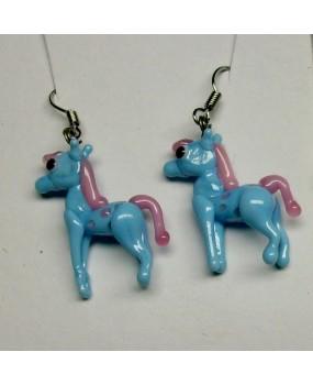Náušnice: Koníci modrá