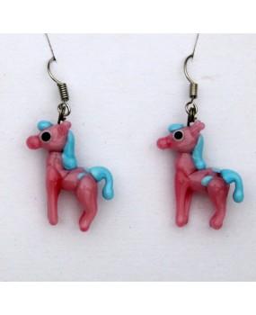 Náušnice: Koníci růžová