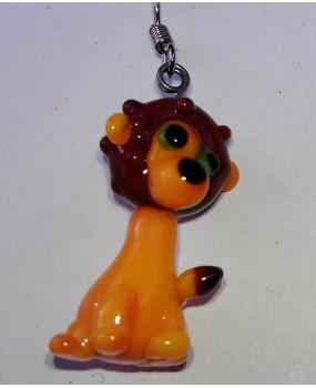Náušnice: Lvíčci oranžová hnědá