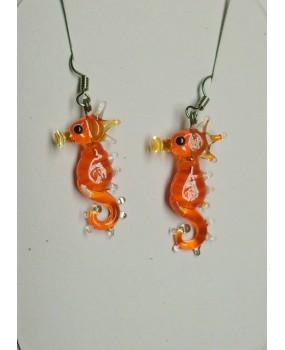 Náušnice: Mořští koníci oranžová