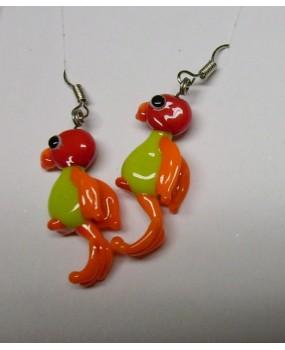 Náušnice: Papoušci červená hrášková oranžová