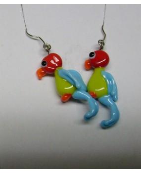 Náušnice: Papoušci červená hrášková světle modrá