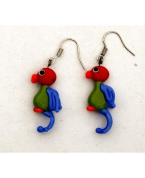 Náušnice: Papoušci červená zelená modrá