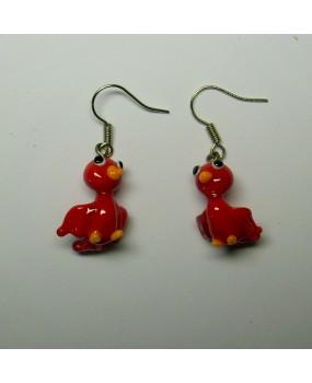 Náušnice: Ptáčci červená