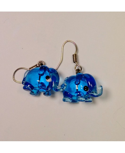 Náušnice: Sloni aqua