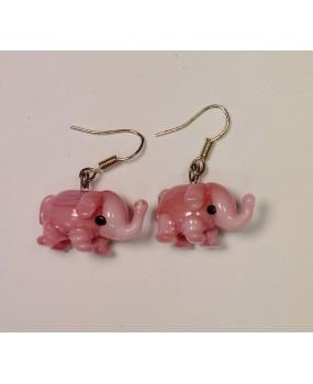 Náušnice: Sloni růžová