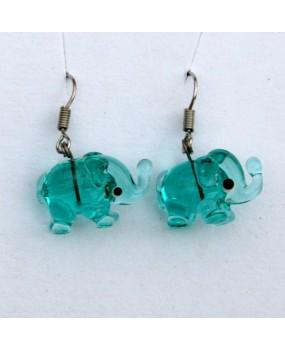 Náušnice: Sloni aqua zelená